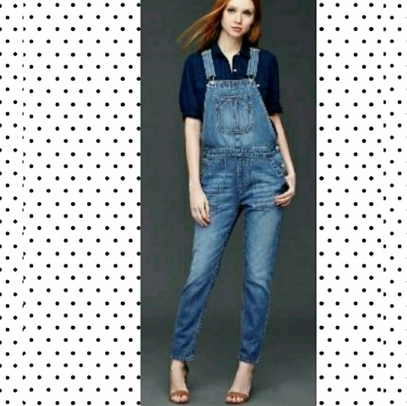 847b9be3852b gap denim overalls cropped slouchy size small EUC