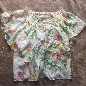 Anthropologie floreat silk flutter sleeve blouse