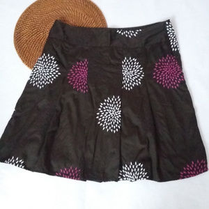 Ann Taylor Size 14 Brown Embroidered A-Line Skirt