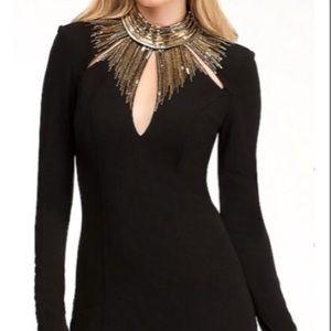 Black Embellished Neck Detail Short Night Dress