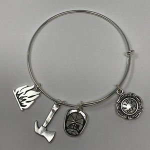 Firefighter Style 1- Silver Adjustable Bangle