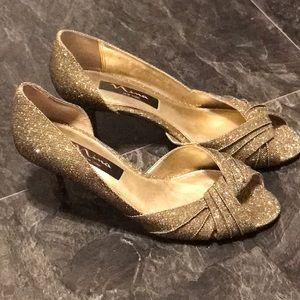 Nina Gold Glitter Peep Toe Heels Size 7