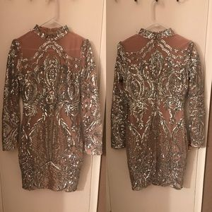 Silver/Nude Sequin Cocktail Dress