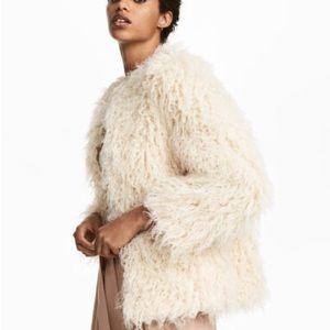 H&M ivory faux fur jacket size 6