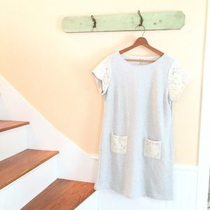 🆕Listing Anthropologie Gray+Lace Sweatshirt Dress