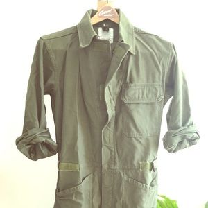 Vintage military green coveralls jumpsuit flight