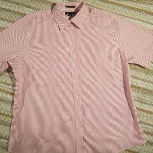 Lands End Men Sz 16 Short Sleeve Button Up Shirt