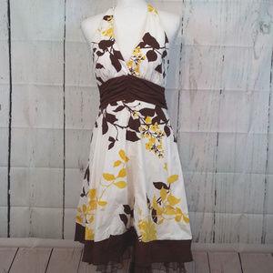 Speechless Sz 9 White & Brown Floral Halter Dress