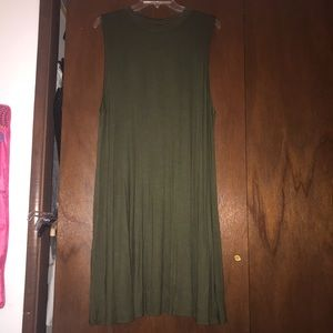 Olive Green sleeveless shift dress