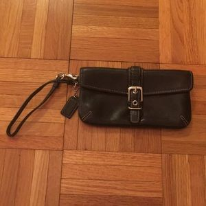 Coach black leather wristlet. EUC