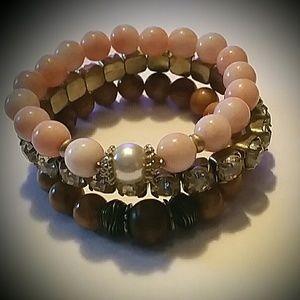 Beautiful & Charming 3 strand Bead Bangle Bracelet