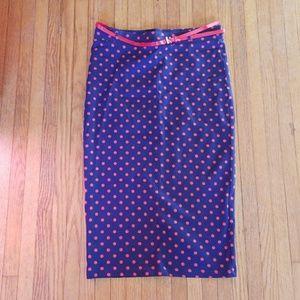 H&M Polka Dot Pencil Skirt Size Medium