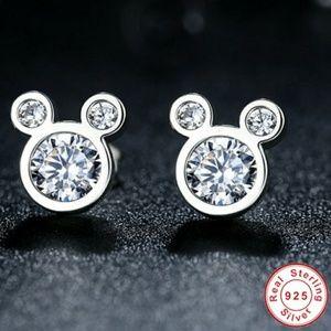 CUTE .925 Sterling Silver Mouse Stud Earrings