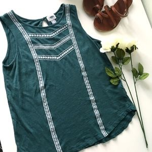 Green Tank Top with Boho Embroidery