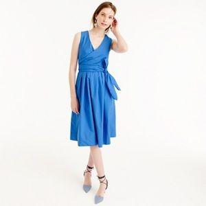 J Crew Wrap Dress in Cotton Poplin Blue NWT!