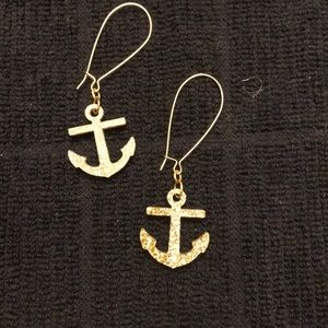 Handmade acrylic gold anchor earrings