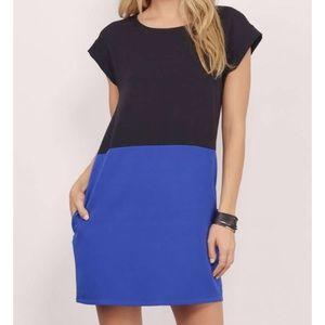 Tobi Black & Cobalt Colorblock Shift Dress