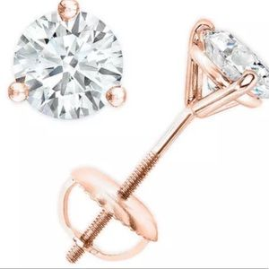 6.0CT Diamond 14K Rose Gold Screwback Martini Stud