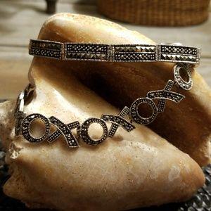 2 beautiful sterling/ marcasite bracelets w/safety
