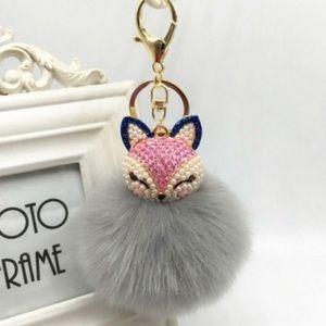 🆕  Fox Pom Pom Keychain Bag Charm