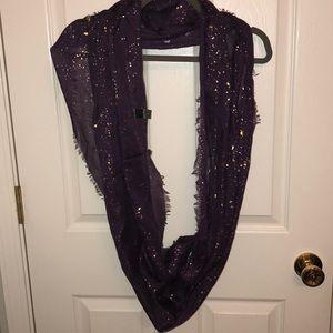 Purple infinity scarf with gold flecks