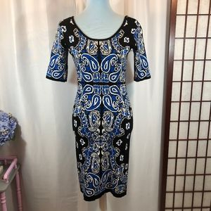 Laundry by Design Black/Blue Paisley Sweater Dress
