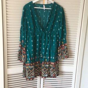 Teal patterned dress