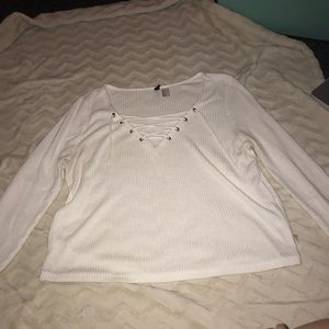 H&M White Lace-Up Top