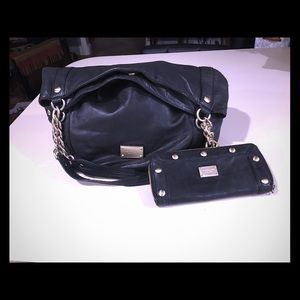 Genuine Michael Kors black leather bag and wallet