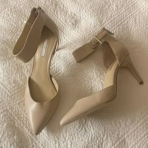Beige 3 inch heals pointed toe