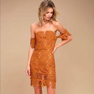 J.O.A. Los Angeles Lace Off-the-Shoulder Dress
