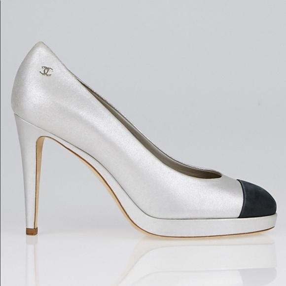 CHANEL Shoes - Chanel Metallic Cap Toe Pumps