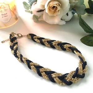 Nautical Navy and Gold Braided Necklace