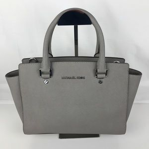 Michael Kors Selma Medium Gray Leather Satchel