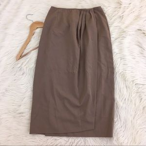 VTG Ralph Lauren 100% Wool Tan Wrap Skirt