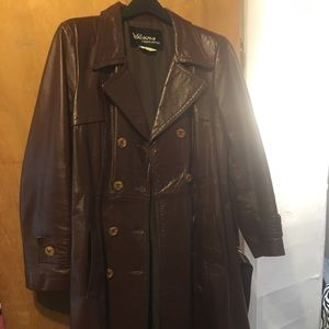 Vintage leather trench coat women