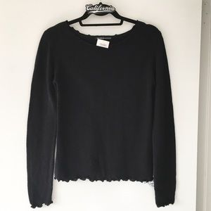 BNWT black ruffled Cecily sweater