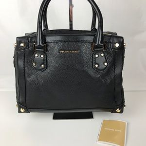 Michael Kors Taryn Medium Black Leather Satchel