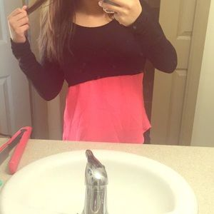 Pink and black statement top