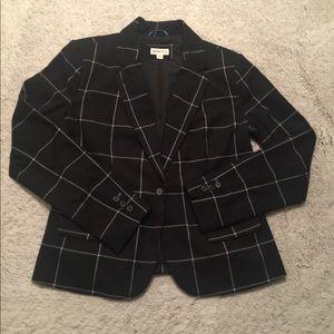 Merona Black White Stripe Blazer Size 14
