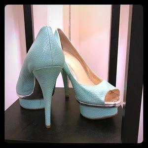 Mint peep toe stilettos
