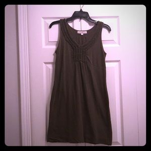 Loft - olive cotton dress with ruffle detail
