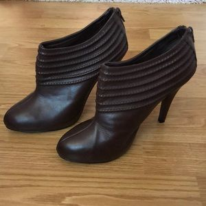 ZARA Leather Ankle Heeled Booties