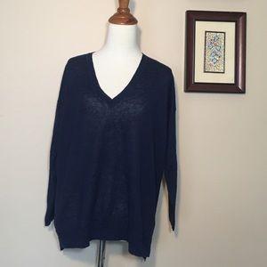 J. Crew 100% Linen Navy Blue V-Neck Sweater S