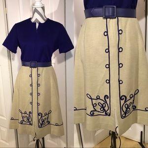 Vintage blue and cream dress size Medium