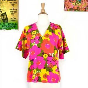 Vintage 60s tropical neon floral print tunic M/L