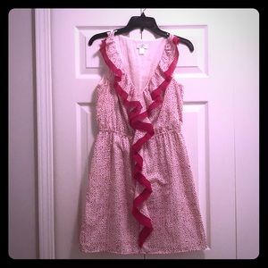 Loft - Pink and white speckled dress with ruffles