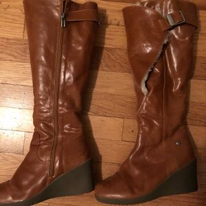Ugg leather wedge boots