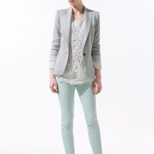 ZARA Light Gray 1 Button Top Jacket Padded Blazer