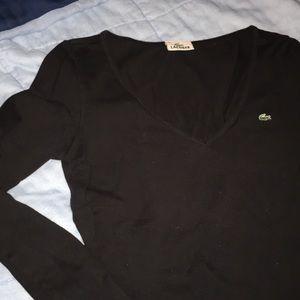 Black v neck Lacoste long sleeve shirt top 38 SM